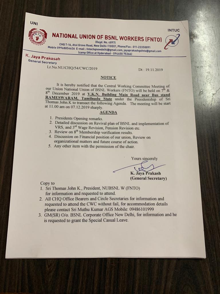 National Union of BSNL Workers (FNTO)